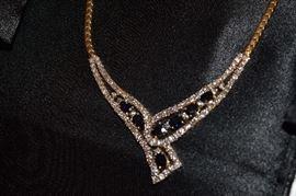 18 K Gold Diamond Sapphire Necklace