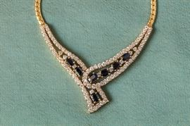 18 K Gold Diamond and Sapphire Necklace. High Quality