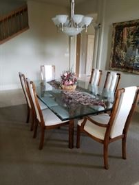 Beautiful Beveled Glass Table with 6 Chairs...This dining table can be sold pre-sale at $650. Tapestry.