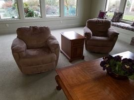 Scan Design Swivel Chairs. Square Coffee Table. Side Chest.