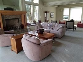 Scan Design Barrel Chairs - Neutral Ton Bacchus Sofa and Large Square Coffee Table - Several Side Chests.