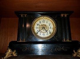Vintage Black and Gold Smith Thomas Clock
