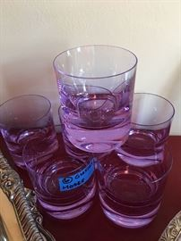 Six Moser double Old Fashion glasses