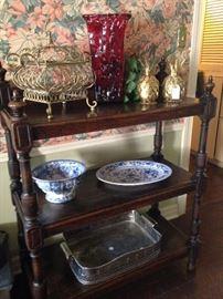 Fabulous English oak antique buffet enhanced by great decor selections