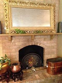 Extra large gold mirror; tole tray; wonderful copper selections