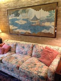Another 3-cushioned sofa, enhanced by the lovely Asian  4-sectioned screen