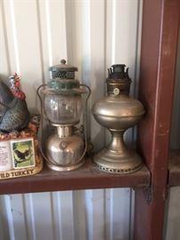Antique Lantern & Oil Lamp
