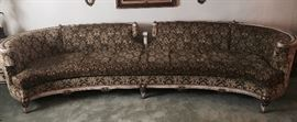 10' MID CENTURY SOFA , STAND BUILT UPHOLSTRY MADE IN BROOKLYN NY USA FRENCH PROVENTAL STYLE