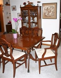 Duncan Phyfe Style Mahogany Table w/6 Chairs & 1 Leaf; Matching China Hutch & Sideboard
