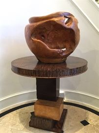 GIANT Teak Root Ball & a Multi Veneer contemporary round accent table.