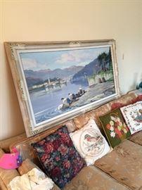 Framed painting signed V. de Graudi (sp?), vintage decorative pillows