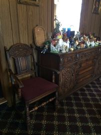Bernhardt Furniture Co. oak Jacobean/Tudor arm chair and buffet, assorted ceramic chickens