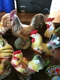Vintage, ceramic chickens
