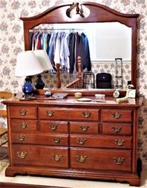 4 Pc. American Drew Bedroom Set: Queen Bed, 7 Drawer Dresser w/Mirror, 6 Drawer Chest on Chest, 3 Drawer Night Stand