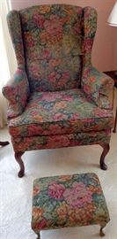 Matching Upholstered Wingback Chairs w/Foot Stools
