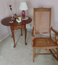 Caned Rocker w/Arms & Drop Leaf Side Table