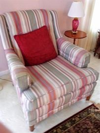 Over Stuffed Striped Arm Chair