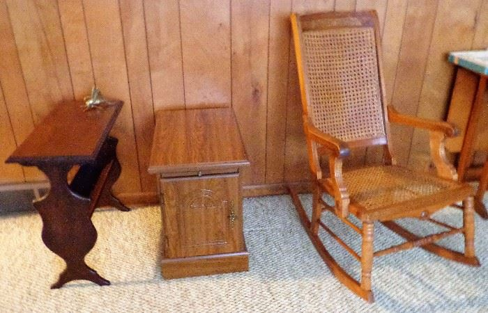 Magazine Rack, Armstrong Recliner Side Table, & Caned Rocker w/Arms