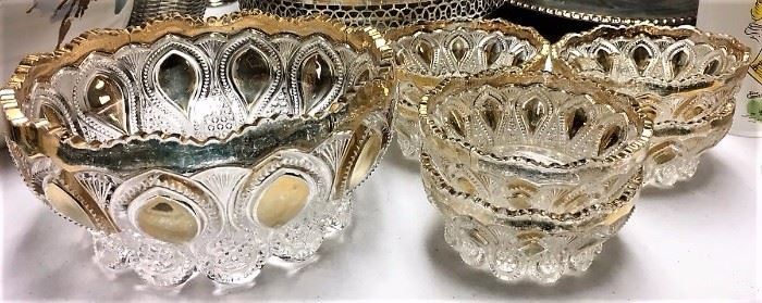 Gold Trimmed Cut Glass Bowls