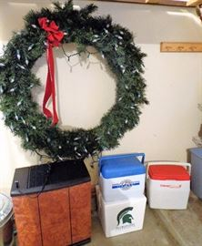 Dehumidifier, Coolers, & Lighted Wreath
