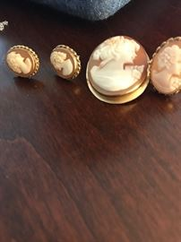 Nice Wedgwood Cameo's- one in 14k
