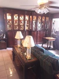 Sofa, entry/sofa table, lamps, game table, large china cabinets
