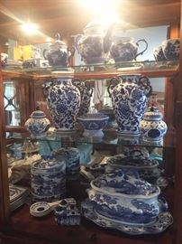 Blue and white tea service, large tureen, ginger jars, bowls, and vases