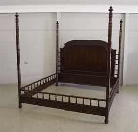 Mahogany 4 Poster Bamboo Bed (King)