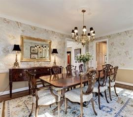 Henkel Harris dining room table and sideboard. Ardley Hall chairs-rug not for sale