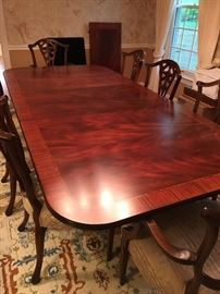 Henkel Harris dining room table, 8 Ardley Hall chairs-rug not for sale