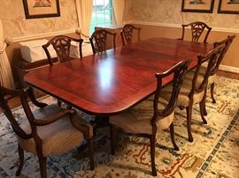 Henkel Harris dining room table and sideboard. 8 Ardley Hall chairs.-rug not for sale