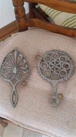 cast iron pewter color trivets