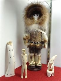Hunter Doll - Ruby  Eningowuk; Mother & child - Ray Weyiouanna; Greenland Tupilak