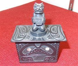 """""""Legend of Bear Mother"""" argillite box - Lionel Samuels"""