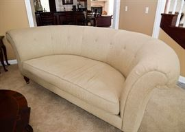 """SOLD--Lot #301, Henredon Schoonbeck Collection Tufted Curved Sofa, (Approx. 98"""" L x 47"""" W x 38"""" H, Seat is 20"""" H), $500"""