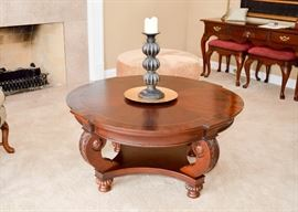 """BUY IT NOW!  Lot #302, Flame Mahogany Carved Cocktail Table, (Approx. 41-1/2"""" Dia x 20"""" H), $350"""