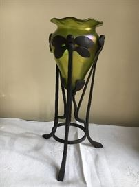 Loetz Vase with dragonfly wrought iron base