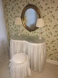 decorative gold mirror with matching pair of lamps and  matching dressing table and stool