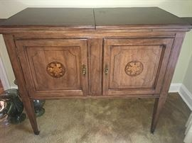 inlaid wood buffet server - top does open on both sides  and folds out to larger scale on each side
