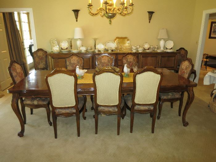Beautiful Dining Room Table With 10 Chairs,                      12 Foot Once Piece Buffet