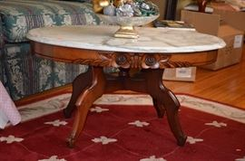 Gorgeous Carved Oval Marble Topped Table and Beautiful Rug
