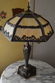 """Gorgeous pieces here! Includes: Highly Carved Round Marble Topped Table and a """"Knockout"""" Quality Leaded Glass Lamp with heavy Ornate Brass Base!"""