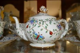 Gorgeous! Gorgeous! Gorgeous! Lenox Summer Enchanment Set features footed Cup & Saucers, Teapot & Lid, Salt & Pepper, Pr. of Tall Candlesticks, Vase, Round Covered Vegetable, etc.