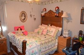 Beautiful American Oak Bedroom Set includes Mirrored Dresser and Ox Bow Style Dry Sink notice also the beautiful Bed Cover, Pillows and Vintage Rag Dolls including Raggedy Ann & Andy