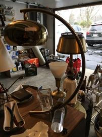 Brass & Lucite Arc Table Lamp c1970 Mid Century Modern