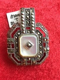 Marcasite and mother of pearl in sterling