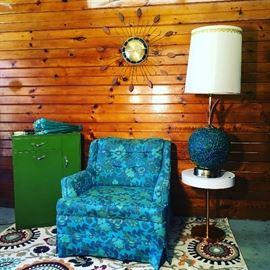 Vintage laundry cabinet, Kroehler chair, GIANT Spaghetti lamp.