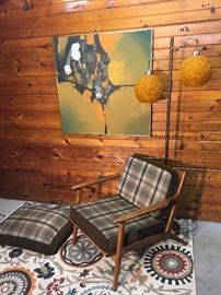 Lovely lounge chair with new cushions and a matching dog bed for your best friend.