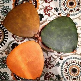3 nesting guitar pick Lu Van inc tables. Brown Orange and Green vinyl.