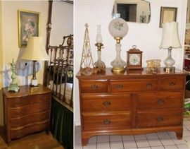 Mahogany chest. Small 4 drawer dresser bow front.  Globe lamps, gas lamps. vintage mirrors